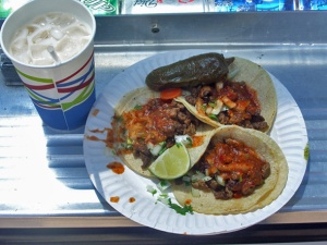 Tacos and an horchata from El Tonayense taco truck in San Francisco.