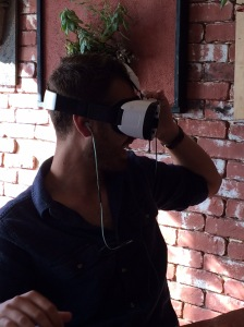 Taylor demonstrating the VR headset